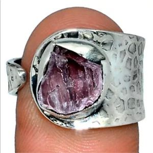 Pink Kunzite and Sterling Silver adjustable ring